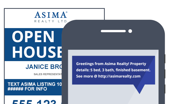 Asima Realty Open House Sign & Corresponding Text Message